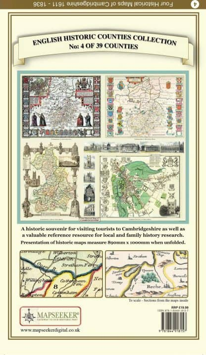 Collection Of Four Historic Maps Of Cambridgeshire