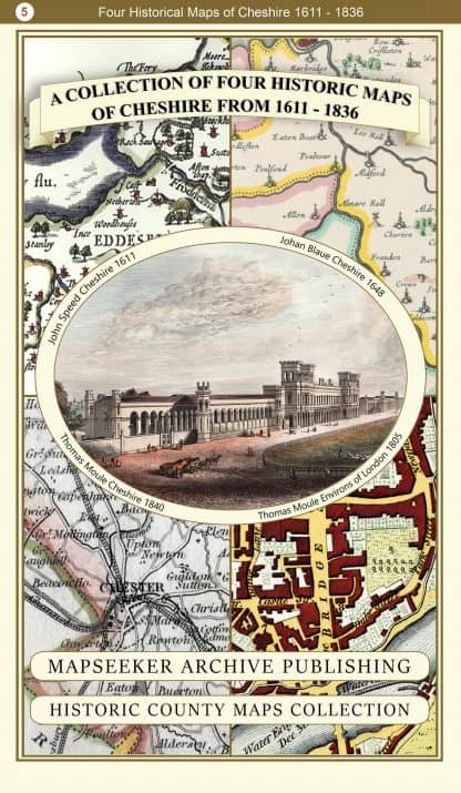 Collection Of Four Historic Maps Of Cheshire
