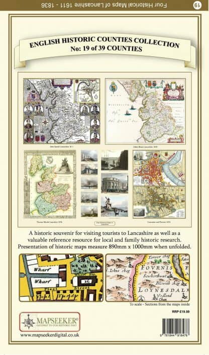 Collection Of Four Historic Maps Of Lancashire