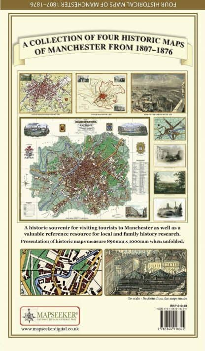 A Collection Of Four Historic Maps Of Manchester From 1807 - 1876