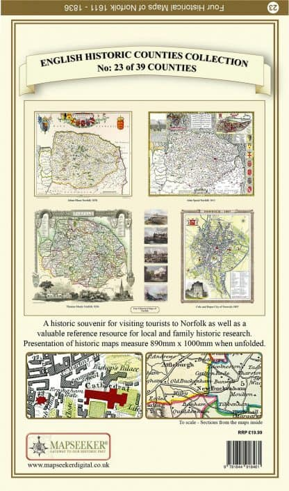 Collection Of Four Historic Maps Of Norfolk