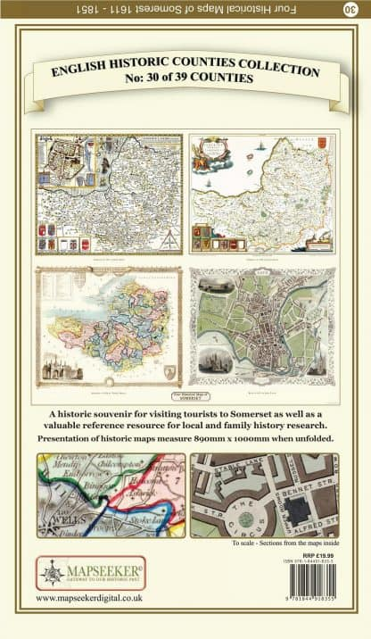 Collection Of Four Historic Maps Of Somersetshire