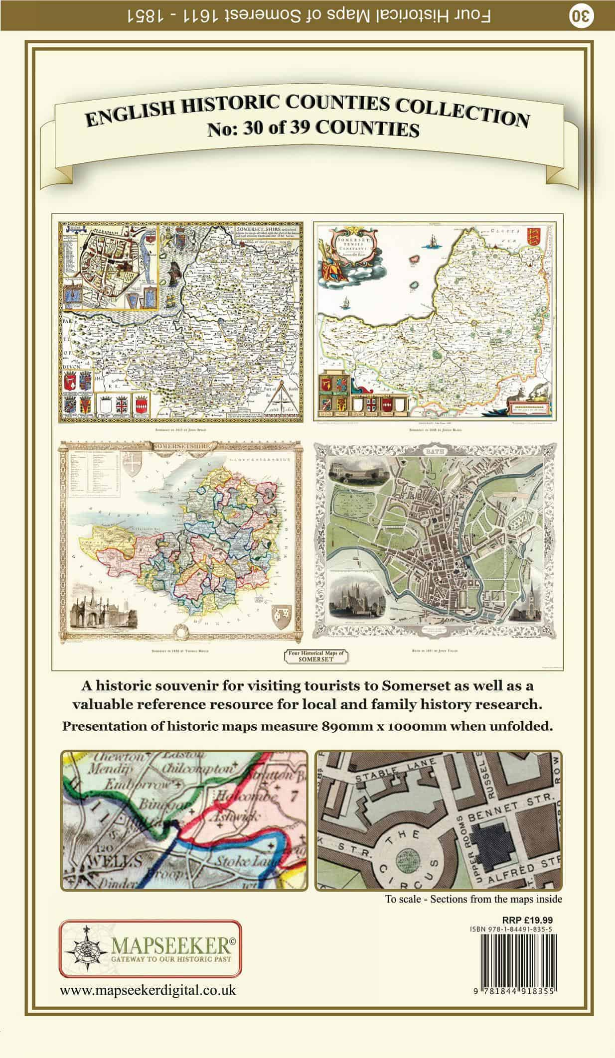 Collection Of Four Historic Maps Of Somersetshire - Mapseeker Digital