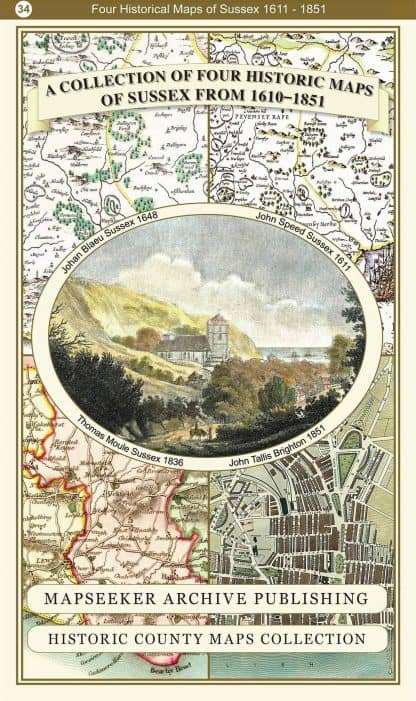 Collection Of Four Historic Maps Of Sussex