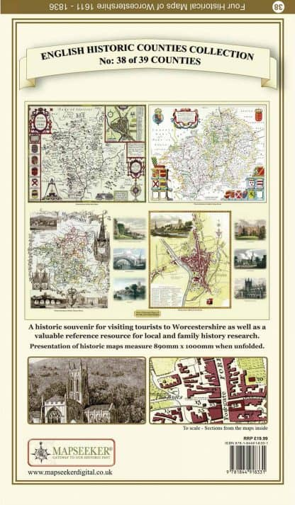 Collection Of Four Historic Maps Of Worcestershire